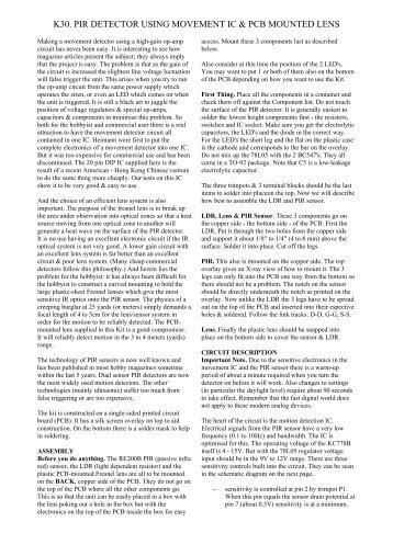 pir detector using movement ic (pdf) - Carl\'s Electronic Kits