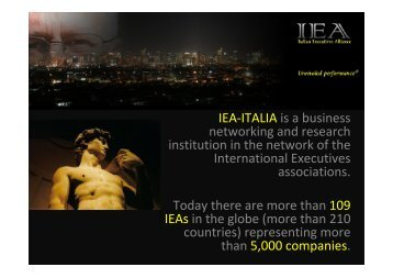 IEA-ITALIA is a business networking and research institution in ... - I3E