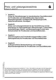 Preis- und Leistungsverzeichnis - Sparkasse Erlangen