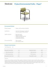 Product Environmental Profile – Player® - Steelcase