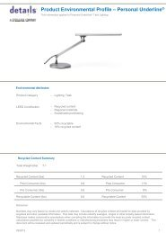 Product Environmental Profile – Personal Underline® - Steelcase