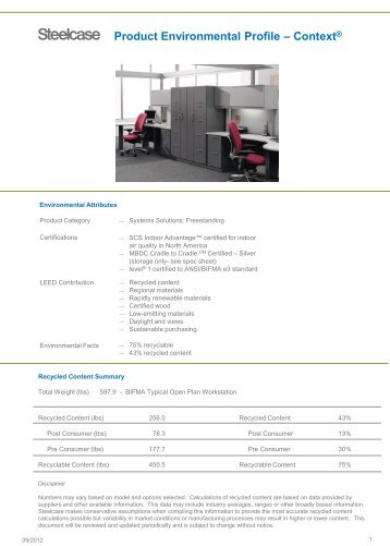 Product Environmental Profile – Context® - Steelcase