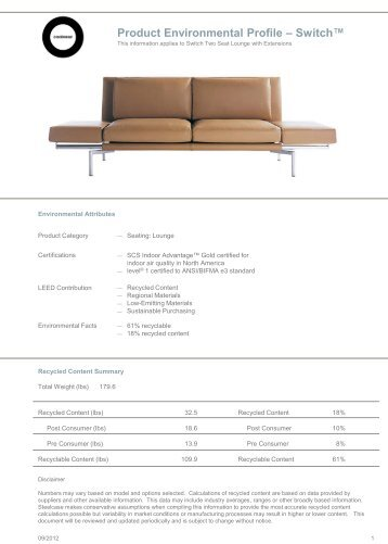 Product Environmental Profile – Switch™ - Steelcase