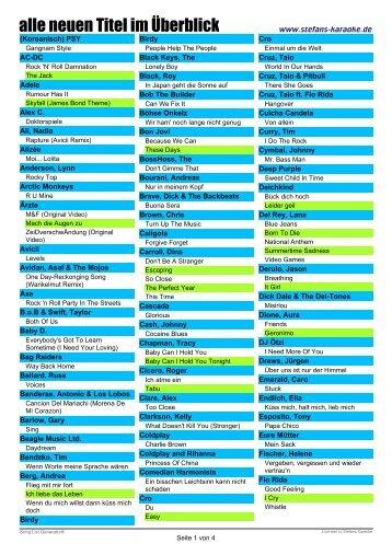 ein Überblick über alle neuen Titel - Stefans Karaoke