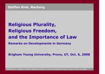 Religious Plurality, Religious Freedom, and the ... - Steffen Rink