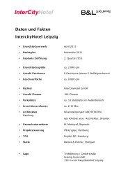 Daten und Fakten IntercityHotel Leipzig - Steigenberger Hotel Group