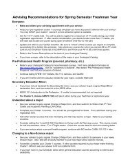Advising Recommendations for Spring Semester Freshman Year