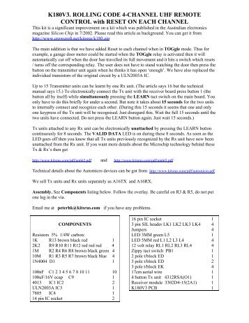 k180v3. rolling code 4-channel uhf remote control - Ozitronics