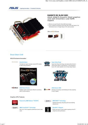 ASUS HD6670 DirectCU Silent graphics card with DirectX ... - OMEGA