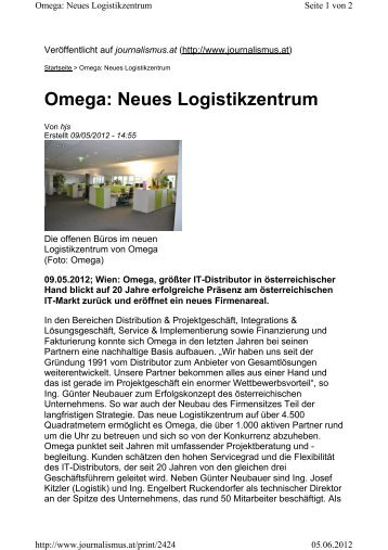 Omega: Neues Logistikzentrum