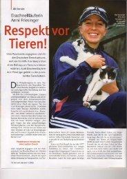 Tierschutzbotschafter Anni Friesinger - Steinbach PR