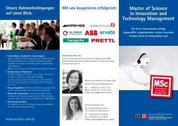 Master of Science in Innovation and Technology Management