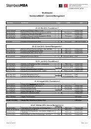 Studienplan SteinbeisMBA07 – General Management - School of ...