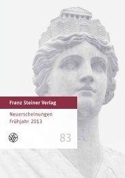 Neuerscheinungen Frühjahr 2013 - Franz Steiner Verlag