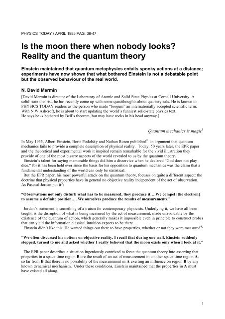 Is the moon there when nobody looks? Reality and     - Duke Physics