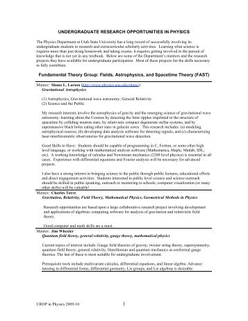 UNDERGRADUATE RESEARCH OPPORTUNITIES IN PHYSICS ...