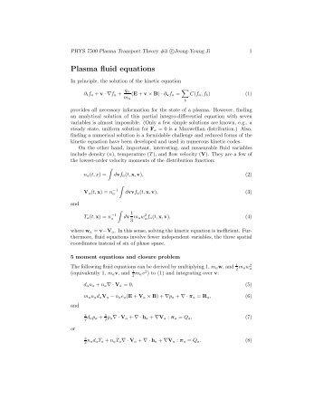 Plasma fluid equations