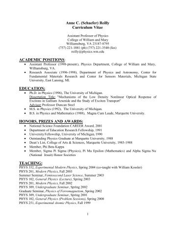 Anne C. (Schaefer) Reilly Curriculum Vitae ACADEMIC POSITIONS ...
