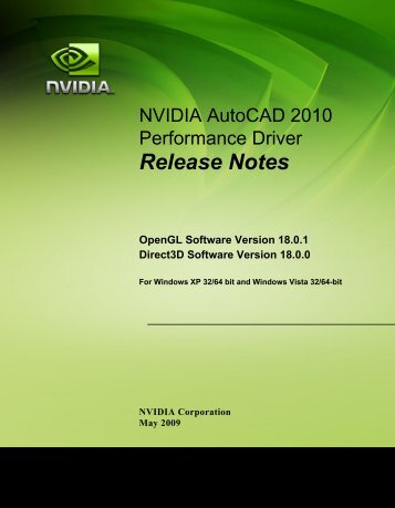 NVIDIA AutoCAD 2010 Performance Driver Release Notes
