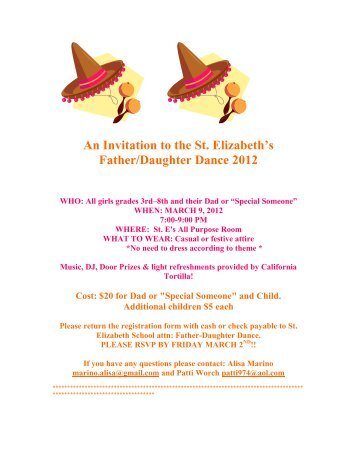 An Invitation to the St. Elizabeth's Father/Daughter Dance 2012