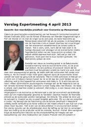 het verslag van de bijeenkomst - Stenden Hogeschool