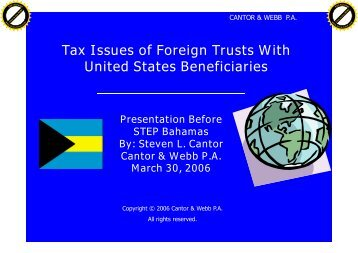 Tax Issues of Foreign Trusts With United States Beneficiaries - STEP