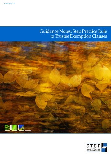 Guidance Notes: Step Practice Rule to Trustee Exemption Clauses