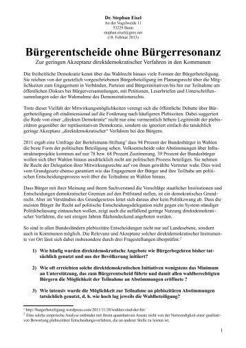 Bürgerentscheide ohne Bürgerresonanz - Stephan Eisel