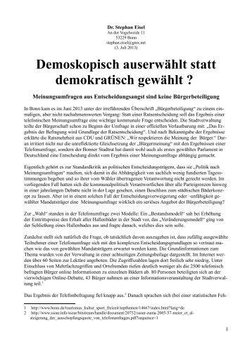 Demoskopisch auserwählt statt demokratisch gewählt - Stephan Eisel