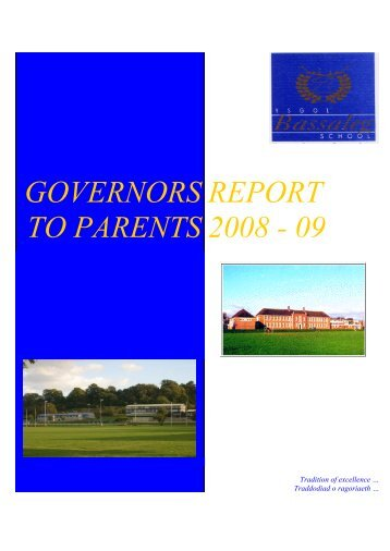 GOVERNORS TO PARENTS REPORT 2008 - 09