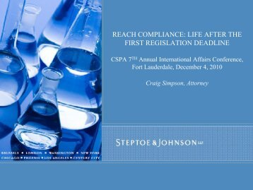 reach compliance: life after the first regislation deadline