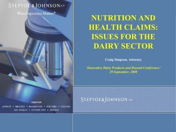 NUTRITION AND HEALTH CLAIMS: ISSUES FOR THE DAIRY ...