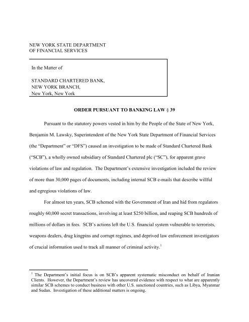 Consent Order To Standard Chartered Bank Pdf Department Of