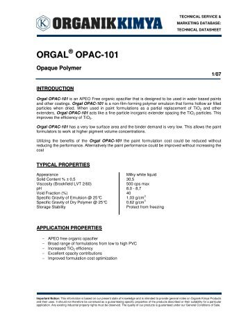 ORGAL OPAC-101 - Stera Chemicals