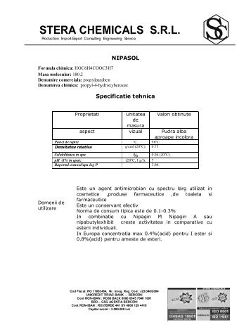 specificatie tehnica nipasol.pdf - Stera Chemicals