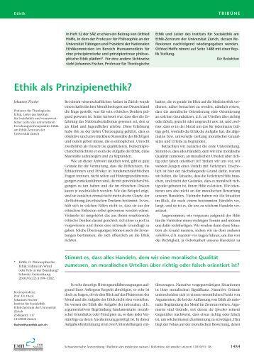 Ethik als Prinzipienethik? - Schweizerische Ärztezeitung