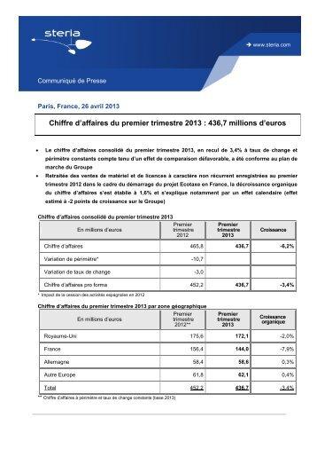 Chiffre d'affaires du premier trimestre 2013 - Steria