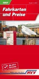 Fahrkarten und Preise Fahrkarten und Preise - HVV - Metronom