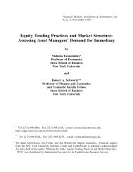 Equity Trading Practices and Market Structure - NYU Stern School of ...
