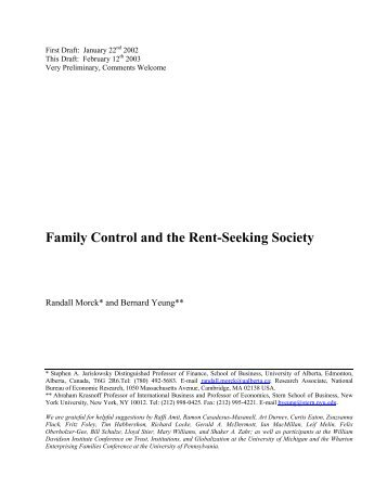 Family Control and the Rent-Seeking Society - NYU Stern School of ...