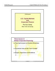 US Capital Markets and Corporate Finance - NYU Stern School of ...