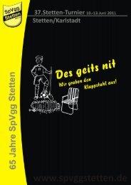 Kurzer Blick in die Festzeitschrift - Stetten-Turnier