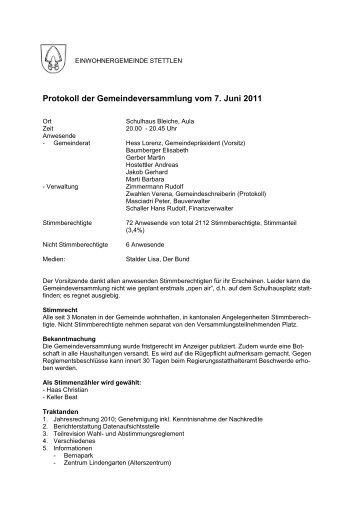 Protokoll vom 7.6.2011 - Stettlen