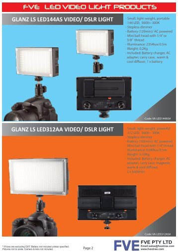 FVE LED VIDEO LIGHT PRODUCTS - Fvextras.com