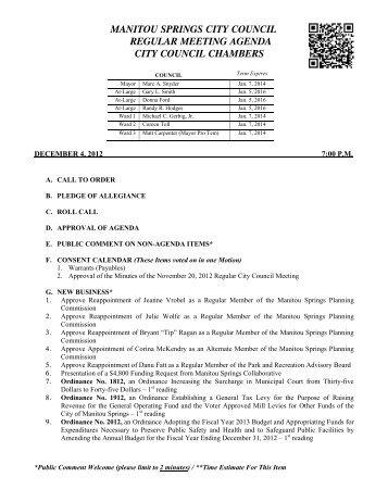 manitou springs city council regular meeting agenda city council