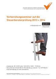 Vorbereitungsseminar auf die Steuerberaterprüfung 2013 + 2014
