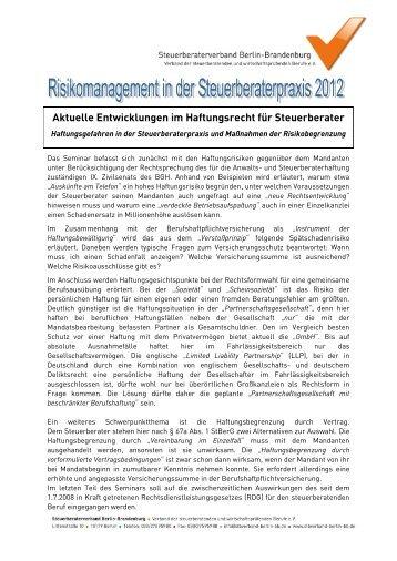Aktuelle Entwicklungen im Haftungsrecht für Steuerberater