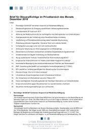 Brief für Steuerpflichtige im Privatbereich des Monats Dezember 2010