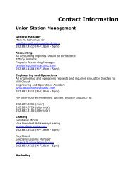 Contact Information Union Station Management