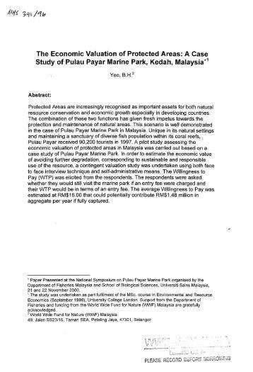 Study of Pulau Payar Marine Park, Kedah, Malaysia ... - WWF Malaysia